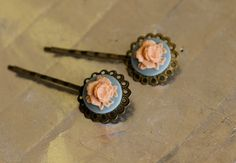 Vintage style baby blue pink flower resin bobby pin by harpluck, $8.00
