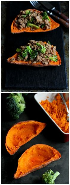 Hoisin Turkey and Broccoli Stuffed Sweet Potatoes...Beyond delicious! 305 calories and 8 Weight Watchers PP | cookincanuck.com #recipe