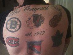 Original Six, Toronto Maple Leafs, New York Rangers, Montreal Canadiens, Detroit Red Wings, Boston Bruins, Hockey, Group, Tattoos
