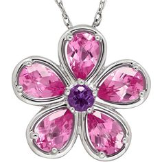 Lab-Created Pink Sapphire and Genuine Amethyst Flower Pendant... ($75) ❤ liked on Polyvore featuring jewelry, necklaces, amethyst necklace pendant, pink pendant necklace, pink necklace, long pendant and long necklaces