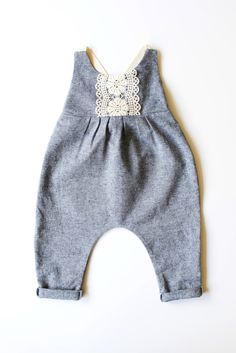 Handmade Linen & Lace Romper | StandardOfGraceShop on Etsy