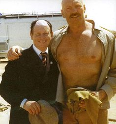 Rare shot of Pat Roach palin' around with Toht himself- Ronald Lacey- on the set of Indiana Jones and the Raiders of the Lost Ark