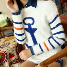 "$28.00 USD Navy Style Anchor Strip Print Soft Sweater Size: Free Size: Bust: 92CM(36.22"" ) Length: 61CM(24.02"" ) Material: Mohair Fabric Heat: Anchor & Strip Print Style: Navy Style Color: Blue"