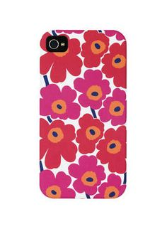 Marimekko Unikko Red/White iPhone Case Maija Isola's iconic poppy print meets Apple's streamlined style and minimalist shape with the creation of the Marimekko Unikko iPhone Cover. Populate your phone with red and pink blooms courtesy . White Iphone, Iphone 4, Iphone Cases, Red And Pink, Red And White, Marimekko, 5s Cases, Fabric Paper, Handmade Pottery