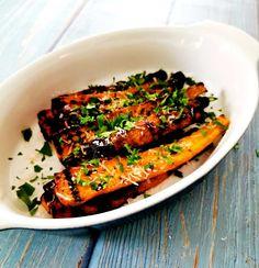 Grillade morötter Lchf, Ratatouille, Parmesan, Ethnic Recipes, Food, Grilling, Lemon, Essen, Meals