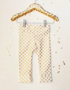 Organic Metallic Gold Polka Dot Leggings