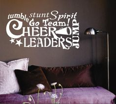 Self-adhesive Vinyl Wall Lettering Available in 3 sizes listed in SIZE drop down menu Word Collage - Cheerleader related words CHOOSE YOUR COLOR AND SIZE FROM DROP DOWN MENU *For Color reference pleas