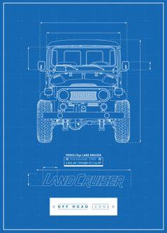 Blueprint by Off Road Icons Design Fj Cruiser, Toyota Land Cruiser, Toyota Fj40, Off Road Adventure, 4x4, Car Posters, Land Rover Defender, Print Artist, Cool Artwork