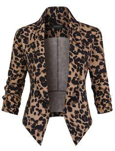womens open front blazer, womens 3 4 sleeve blazer, womens lightweight blazer, womens tuxedo blazer, formal blazers for women Fall Outfits, Casual Outfits, Cute Outfits, Fashion Outfits, Womens Fashion, Cheap Fashion, Leopard Print Outfits, Leopard Blazer, Long Blazer Jacket