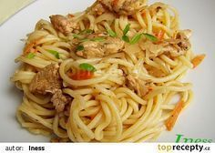 Nudle á la Čína recept - TopRecepty.cz No Cook Meals, Bon Appetit, Family Meals, Chicken Recipes, Spaghetti, Food And Drink, Pizza, Cooking Recipes, Yummy Food