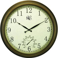 24 Inch Indoor/Outdoor Clock with Brass Colored Finish, Time, & Temperature
