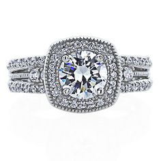 Cz, Moissanite & Simulated Jewelry & Watches Intelligent 7mm Platinum Plated Silver 1.5ct Cz Half Bezel Wedding Engagement Ring Size8