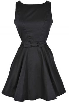 Holly Golightly Black Open Back Fit and Flare Dress//