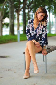 {darker blooms}  dark floral romper for fall with a side braid and lace up zara ballerina flats. pink, blue and grey