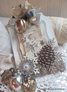 shabby christmas child ornament tag-handmade christmas decoration