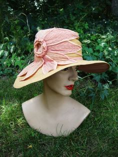 Lovely 1920 Wide Brim Cloche' Hat in Natural Straw with Rose Fabric Flower Trim #WideBrimCloche