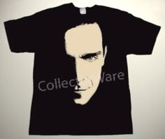 ROBBIE WILLIAMS drawing 1 CUSTOM ART UNIQUE T-SHIRT   Each T-shirt is individually hand-painted, a true and unique work of art indeed!  To order this, or design your own custom T-shirt, please contact us at info@collectorware.com, or visit http://www.collectorware.com/tees-robbie_williams.htm