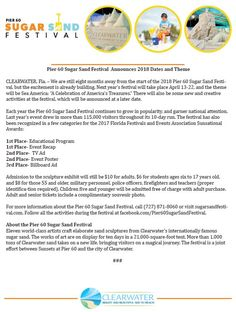 Pier 60 Sugar Sand Festival Announces 2018 Dates and Theme | News Feed | City of Clearwater, FL