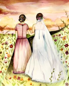 Mother and daughter wedding day art print by claudiatremblay on Etsy