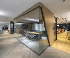 iDA Workplace+Strategy created the office design for Yum China, an American-Chinese fast food company located in Shanghai, China. Yum China is transforming its Restaurant Support Center (RSC) in downtown Shanghai to… Corporate Office Design, Office Cabin Design, Business Office Decor, Industrial Office Design, Office Space Design, Modern Office Design, Corporate Interiors, Office Interior Design, Office Interiors
