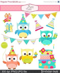 Owl clip art Digital clip art. for all use Happy por petittatti