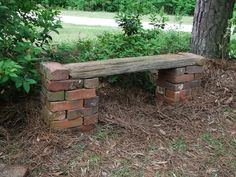 Brick bench- we could have a lot of these Looks easy. Used blocks and boards. Recycle