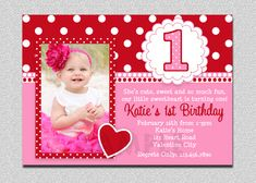 Valentines Birthday Invitation, Birthday Valentines Birthday Party Invitation, Pink and Red Valentine Birthday Party Invitation by TheTrendyButterfly on Etsy First Birthday Invitation Cards, 1st Birthday Cards, Birthday Invitation Templates, 1st Birthday Parties, Invitation Ideas, Invitation Wording, Birthday Ideas, Girl Birthday, Photo Invitations