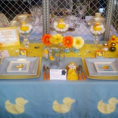 #BabyShower #tablescape #ducks #yellow #tablesetting #creative #entertaining #decor #party #shower #gerbera #rubberduck #orange #squareplate