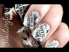 Easy Nail Art: Harry Potter Inspired Daily Prophet Newspaper Nails Tutorial - YouTube