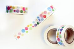 Rainbow Watercolor Polka Dots Washi Tape - WT5