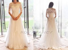 Vintage Off Shoulder 1/2 Sleeved Lace A-line Wedding Dress With Beading And Crystals by RosyFancyWorkshop