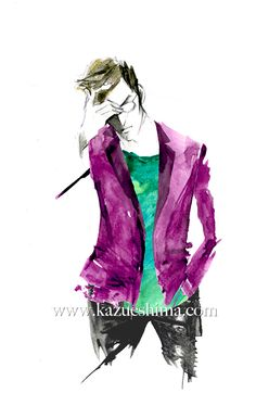 """Men's Fashion illustration by Kazue Shima. Men's casual jacket. (Material: water color, pencil, photoshop)#mensfashion #fashionillustration #menswear #mensstyle """"suits #illustration #menssuits"""