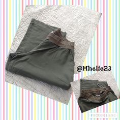Sport Maternity Wide leg Capri Large Army green distressed see pull in he picture as well as piling center of the pants comfy stretch top maternity pants great for dress down Pants
