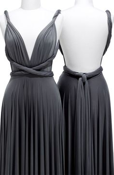 Pewter Column Deep V-Neck and Strap Backless Knee Length Prom Dresses With Twist Draped