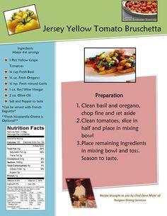 Jersey Yellow Tomato Bruschetta Fresh Tomato Recipes, Yellow Tomatoes, Tomato Bruschetta, Fresh Basil, Vinegar, Paleo, Favorite Recipes, Beach Wrap