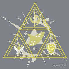Legend of Zelda - Zora, Kokiri, Goron Triforce: Gold Edition    Simplify it a bit and it would make an awesome tattoo