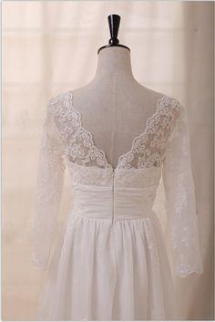 Long Sleeves Lace Chiffon Wedding Dress Deep V Back Open Back Empire Waist