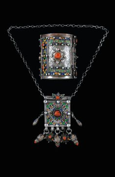 Algeria | Bracelet and pendant necklace; silver, cloisonné enamel and coral | Kabyles.  Beni Yenni Haut | 800€ ~ sold (June '10)