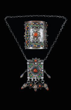 Algeria | Bracelet and pendant necklace; silver, cloisonné enamel and coral | Kabyles. Beni Yenni