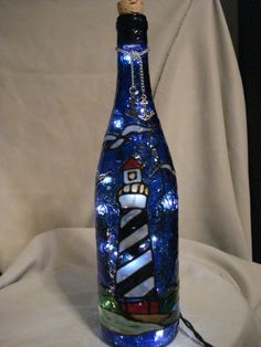 Lighthouse Wine Bottle Lamp by PaintingCreationsByD on Etsy, $28.95