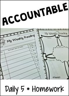 How do you hold your students accountable for their reading homework and Daily 5 work?  Helpful forms plus other charts, reminders, etc. paid