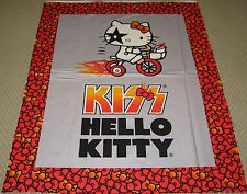 DAVID TEXTILES cotton fabric HELLO KITTY KISS BIKE FLAMES & BOWS 1 yd panel LTD
