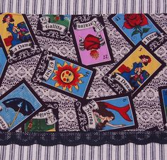 loterial tea towel day of the dead bingo game by handyjan on Etsy