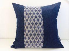 "Decorative Pillow Cover 18""x18"" Square Cushion Vintage Indigo Blue Diamond Shape Fabric Color-Blocked Dark Blue Denim Shades of Navy Blue"