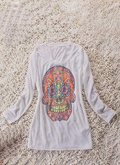 #SheInside White Long Sleeve Beads Embellished Skull Print T-Shirt