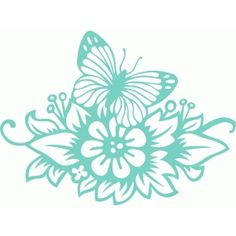 Silhouette Design Store - View Design #77742: butterfly floral ornament