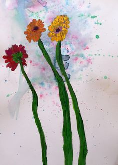 I love the long stems of these Gerberas! By Annabelle, acrylic on a watercolour background. 12.11.16