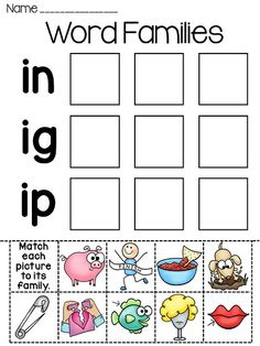 Worksheets Word Family Worksheets Free word families sorting and words on pinterest worksheets puzzles bundle