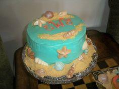 Beach / coastal Aqua and Coral theme shell bridal shower cake