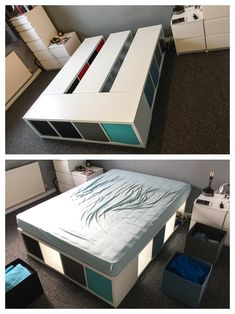 diy kallax bed -> link in the description to find out more about a great . ikea diy kallax bed -> link in the description to find out more about a great .,ikea diy kallax bed -> link in the description to find out more about a great . Cama Ikea, Platform Bed With Storage, Diy Platform Bed, Diy Ikea Kallax, Ikea Deco, Diy Storage Bed, Bed Frame Storage, Ikea Bedroom Storage, Creative Storage